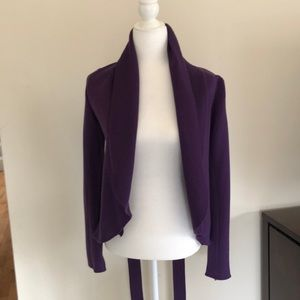 Bcbs merino wool purple open cardigan with tie